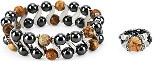 Elegant Womens Hematite Magnetic Therapy & Healing Stone Bracelet & Ring Set Pain Relief for Arthritis and Carpal Tunnel (Picture Jasper)