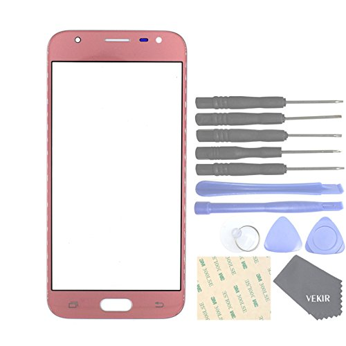 VEKIR Cell Phones Replacement Parts for Samsung Galaxy J3 (2017) J3 Pro (2017) J330F J330G Outer Glass Screen Panel[NO LCD,NO TOUCH](Pink) by VEKIR