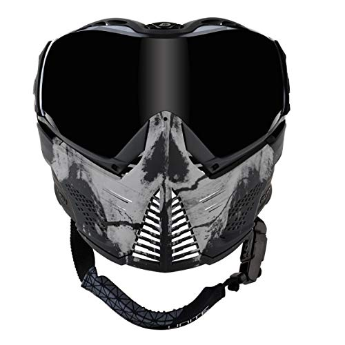Push Unite Paintball Goggles MASK with Quad PANE Lens and CASE (Infamous Skull Black White)