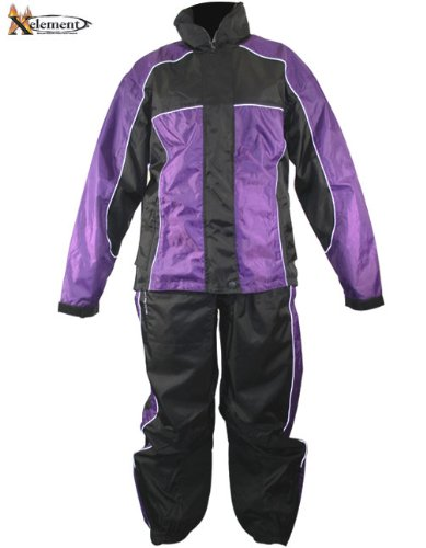 Xelement RN4764 Womens Black/Purple 2-Piece Motorcycle Rain Suit - Small