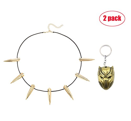 (Jacky Store Necklace for Black Panther Cosplay Men Boys Wakanda King T'Challa Stainless Steel Choker Necklace with Black Panther Keychain(gold))