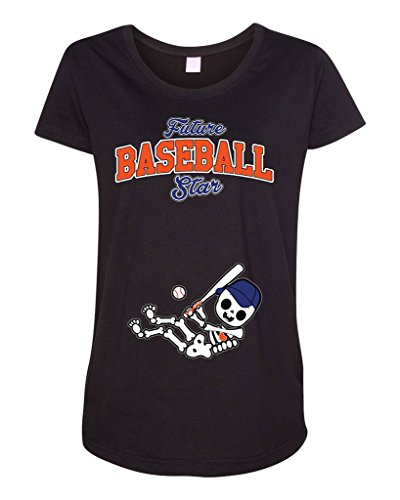 Future Baseball Star New York NY Baby Fan Sports Ball Maternity DT T-Shirt Tee (Large, Black)