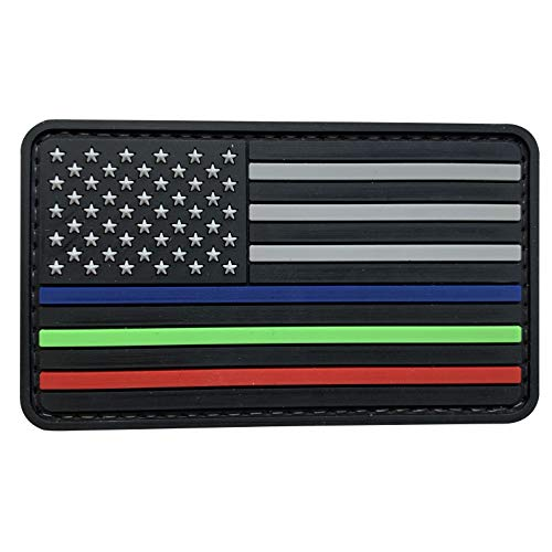 American Flag PVC Morale US Flag Patch with Thin Blue Line for Law Enforcement Thin Green Line for Park Rangers US Border Patrol Red Line for Firefighther