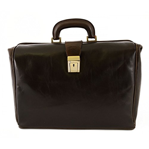 Borsa Per Dottore In Pelle Vera, 1 Scomparto Colore Moro - Pelletteria Toscana Made In Italy - Business