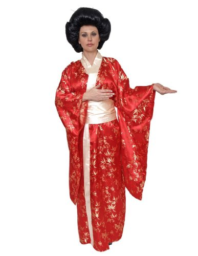 [Underwraps Women's Kimono, Red/Gold, X-Large] (Chinese Doll Halloween Costume)