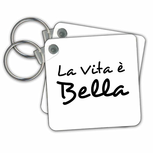 La Vita e Bella -Life is Beautiful - black, white text- Key Chains, 2.25 x 2.25 inches, set of 2 (kc_185025_1) Vita Key