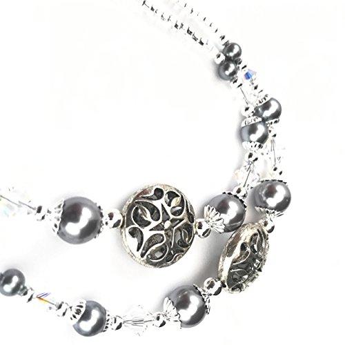 Beaded Lanyard~Silver~Swarovski Crystal~Badge ID Holder (Lanyards Beaded Christmas)