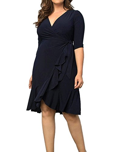 Chicwe Women's Plus Size Stretch Solid Wrap Dress with Cascading Flounces - Knee Length Casual Party Cocktail Dress 1X by Chicwe