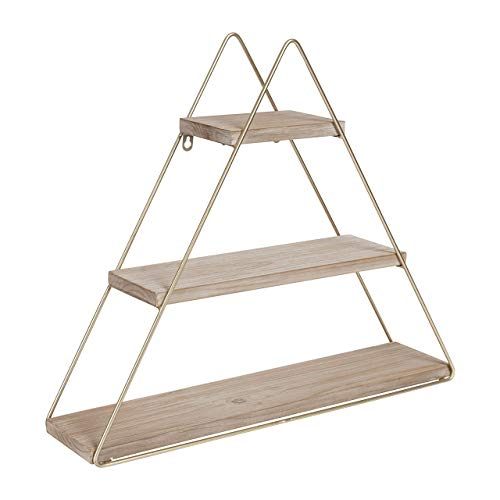 (Kate and Laurel Tilde Small Three Tiered Triangle Floating Metal Wall Shelf, Rustic Light Brown/Gold)
