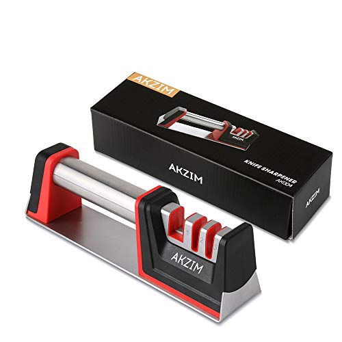 (AKZIM Kitchen Knife Sharpener,3 Stage Knife Sharpening System with Diamond and Ceramic Coated Non-slip Base Sharpening Knife Helps Repair Restore and Polish Blades)