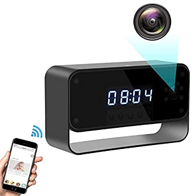 Spy Camera Wireless Hidden Camera Clock 1080P WiFi Covert Nanny Cam Secret Home Security Remote View via Android iPhone APP Motion Detection Record & Alarm Night Vision from Facamword