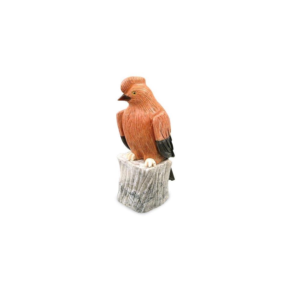 Jasper and onyx statuette, Little Red Bird