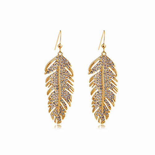 Price comparison product image FIFATA Girl Rose Gold Crystal Drop Dangling Feather Love Wing Leaves Earrings for Women Jewelry