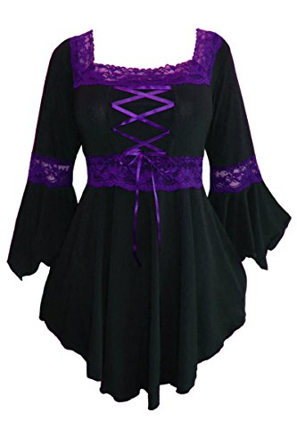 Dare to Wear Victorian Gothic Peasant Women's Plus Size Renaissance Corset Top, Black/Purple S ()