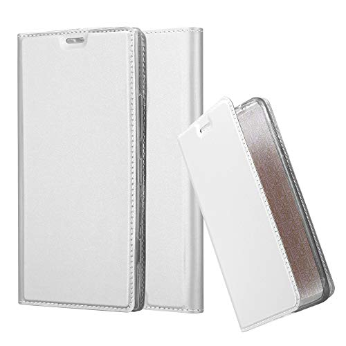 Silver Nokia Pouch - Cadorabo Book Case Works with Nokia Lumia 1520 in Classy Silver - with Magnetic Closure, Stand Function and Card Slot - Wallet Etui Cover Pouch PU Leather Flip