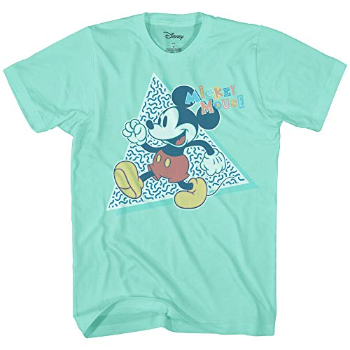 Disney Mickey Mouse 90s Nostolgia Classic Retro Vintage Disneyland World Tee Funny Humor Adult Mens Graphic T-Shirt Apparel (Mint, Medium)