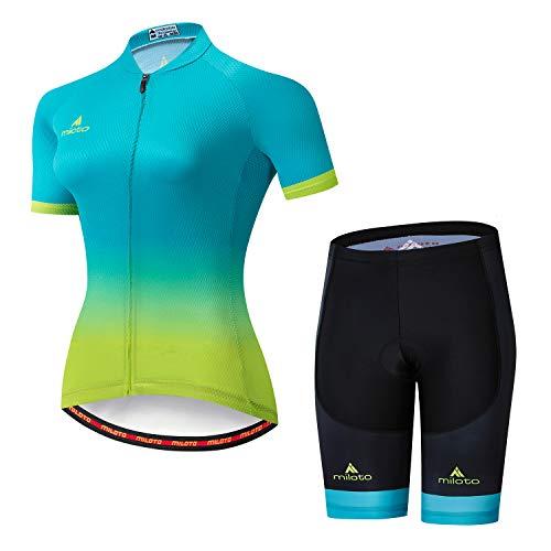MILOTO Women's Cycling Jersey Reflective Shirt Padded Shorts Set (M, Blue Green)