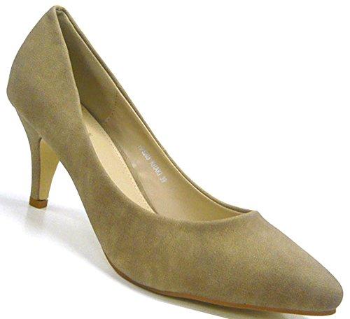 Elegante Klassische Damen Schuhe Pumps Abendschuhe khaki 37