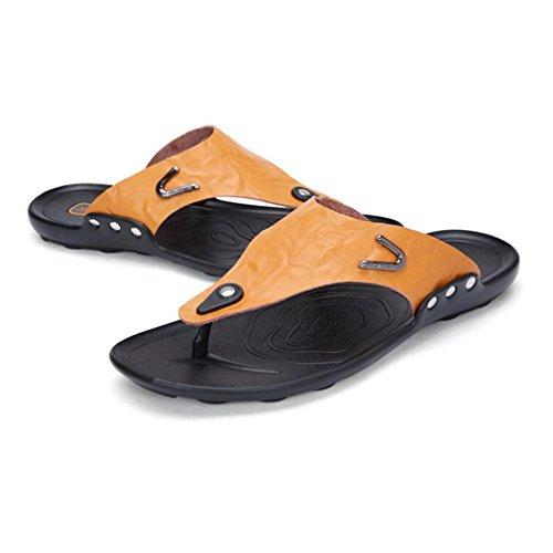 Deslizamiento de Hombres los de de Zapatilla Chanclas los al Verano Aire de Chanclas Playa de Amarillo Plano Hombres Zapatos Vacaciones la de Casuales Sandalias Cuero Zapatillas Libre en A hibote 0zwqxgRx