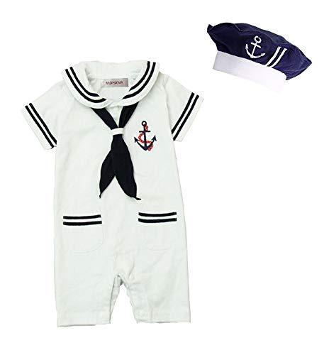 stylesilove Baby Boy Marine Sailor Costume Short Sleeve Romper Onesie with Hat 2 pcs Set (White, 90/12-18 Months)