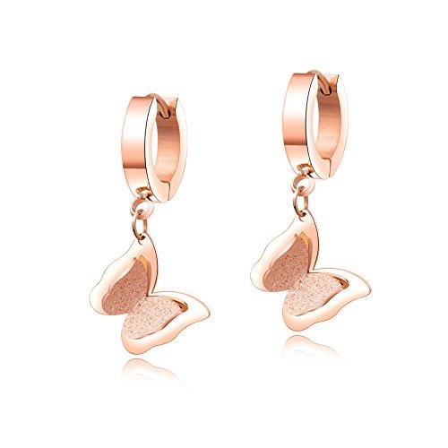 - Robert Matthew Emily 18k Rose Gold Small Hoop Earrings, Dangle Butterfly Earrings, Rose Gold Plated Stainless Steel Drop Earrings, Small Dangling Earrings - MSRP $86