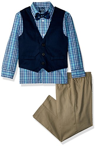 Izod boys 4-Piece Vest Set with Dress Shirt, Bow Tie, Pants, and Vest, Nafpak Blue, 3T