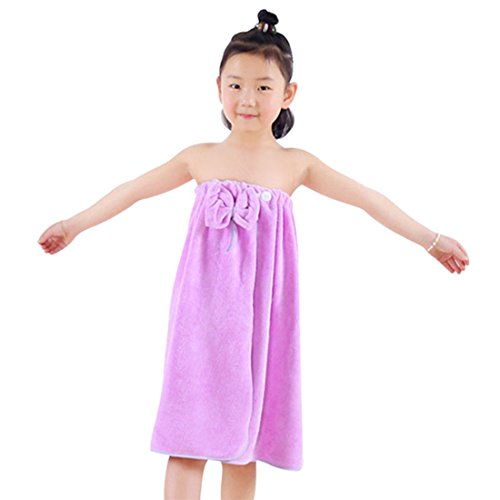 Freahap Kids Bathrobe Girls Bath Towel Wrap Shower Skirt Tube Dressing Purple