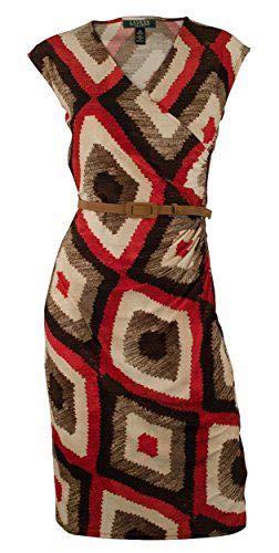 Ralph Lauren Women's Plus Size Cap-Sleeve Faux-Wrap Geo-Print Dress-M-2X