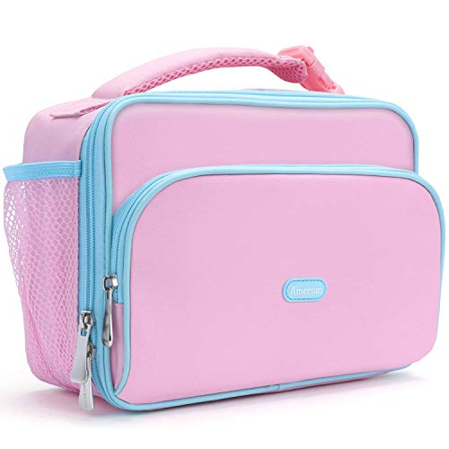 Amersun Kids Lunch Box,Durable Insulated School Lunch Bag with Padded Liner Keeps Food Warm Cold Longer Time,Small Water-resistant Thermal Travel Office Lunch Cooler for Teen Girls-2 Pockets,Pink (Lunch Box Girls Insulated)
