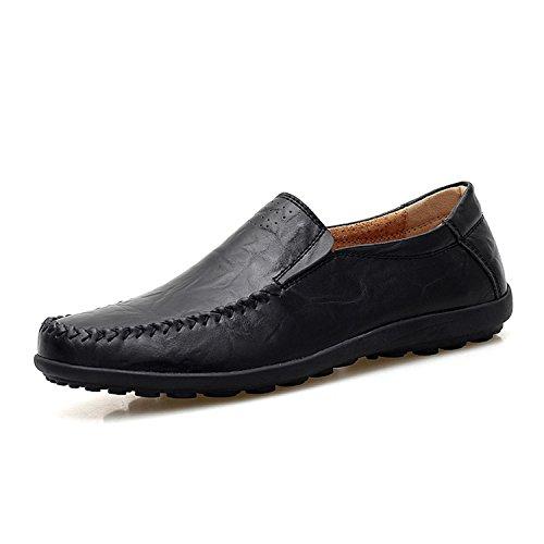 Hombres Botia Resbalón Genuino de y Zapatos Mocasines Zapatos Cuero de Transpirable Black Mocasines Mocasines Casuales en Cómodo para Barco rxwqrHF