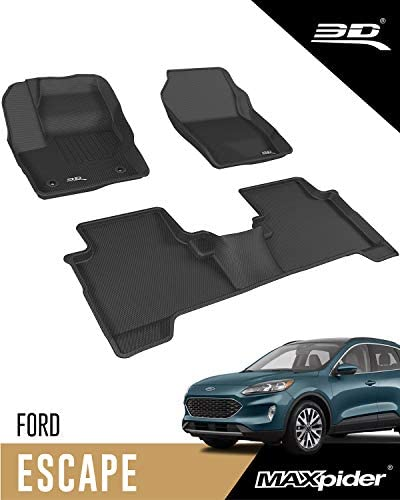 3D MAXpider – L1FR10601509 Ford Escape 2015-2019 Custom Fit All-Weather Car Floor Mats Liners, Kagu Series (1st & 2nd Row, Black)