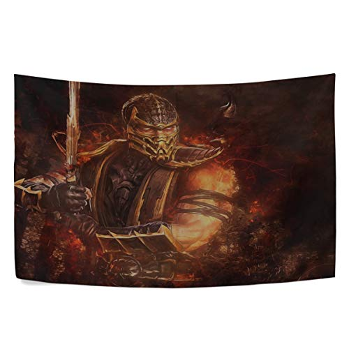 (MAXM Mortal Kombat Scorpion Sword Abstraction Video Game Wall Hanging Tapestry Bedroom Living Room Beach Doorway Curtain Christmas Thanksgiving Day Decoration 60 X 40)