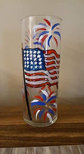 American Flag Fireworks Hand Painted 9 Inch Cylinder USA Glass Vase Home Decor 2