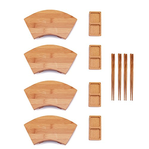 Sushi Sauce Dish (BambooMN Bamboo Sushi Board Tray, Chopsticks and Compartment Sauce Dish, 8.25