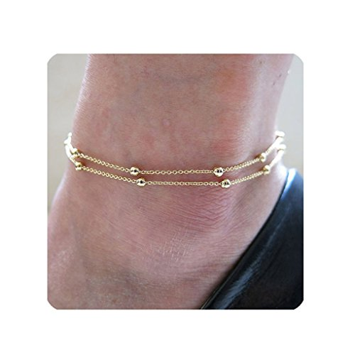 Daycindy Multi-layer Ball Beaded Chain Anklets for Women, Golden