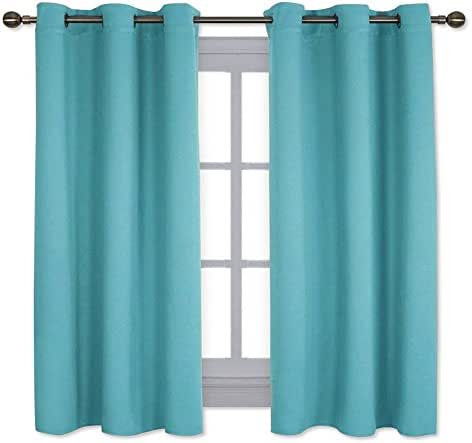 NICETOWN Window Treatment Thermal Insulated Solid Grommet Room Darkening Curtains/Drapes for Bedroom (Turquoise=Light Blue, Set of 2 Panels,42 by 63 Inch Long)