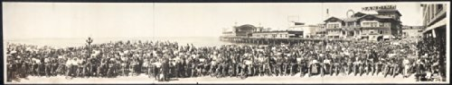c1911 Los Angeles Motorcycle Club at Venice, Calif. 42'' Vintage Panorama photo by Historic Panorama