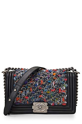 CHANEL Black Lambskin & Multicolor Tweed Boy Medium - Flap Bag Chanel