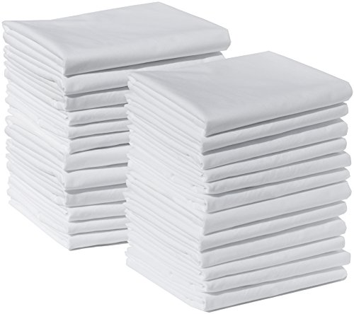 """Polycotton Bulk Pack of 24 Standard Size Pillowcases, White 200 Thread Count, 21""""x30"""" White (Fits 20"""" X26"""" pillow), 2 Dozen, Perfect for Physical Therapy Clinics, Hotels, Camps"""