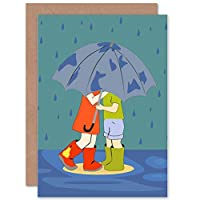 Wee Blue Coo Children Kids Umbrella RAIN Edinburgh Wellies Boots Blank Birthday Card