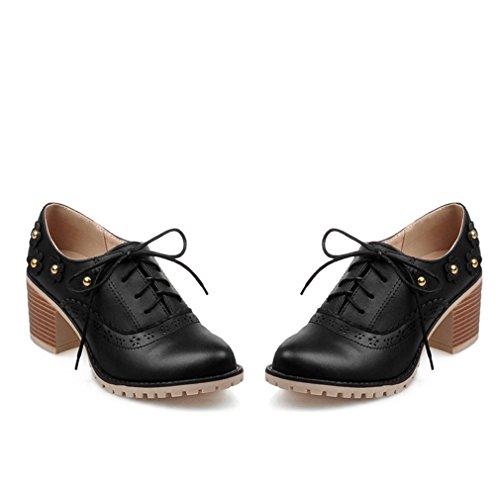 Mfairy Vrouwen Geperforeerde Lace-up Vleugeltip Close Front Brogue Schoenen Vintage Oxford Schoenen Zwart