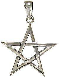 Sterling Silver Star Pentagram Pendant; 0.75 Inches Across