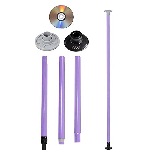 AW Portable Non-Spinning Dance Pole Full Kit Package Exercise Club Party Weight Loss Fitness 50mm with Bag Purple