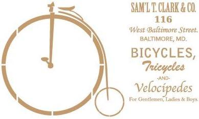 TODO-STENCIL Deco Vintage Composición 155 Bicicleta. Medidas aproximadas: Medida Exterior 20 x 30 cm Medida del diseño:14,5 x 24,7 cm: Amazon.es: Hogar
