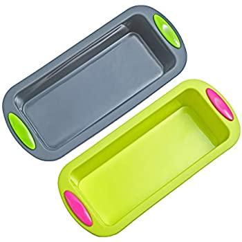 Megrocle Silicone Bread and Loaf Pan Set of 2, Nonstick Premium Food Grade Silicone Toast Pan Baking Pans, Oven-Microwave-Dishwasher Safe BPA Free Silicone Bakeware Cake Molds, 8.7