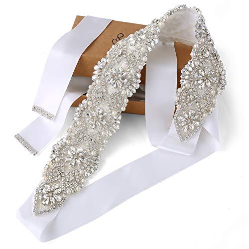 (SoarDream Off White Bridal sash Beaded Wedding Belt Wedding Dress Sashes and)