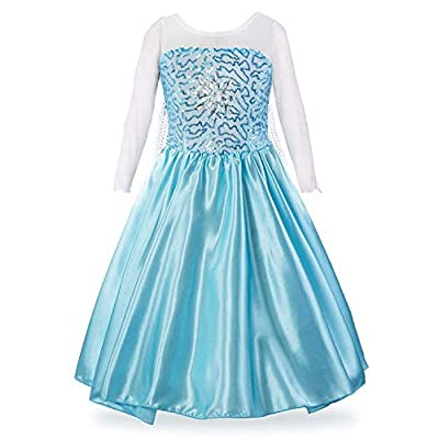 LEHNO Elsa Costume for Girls Elsa Dress Up Sequined Princess Party Dress for Halloween: Clothing