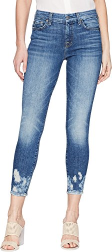 7 For All Mankind Women's Ankle Skinny Jean with Bleach Holes at Hem, Desert Oasis, 27 (Jeans Skinny 7 Mankind All)