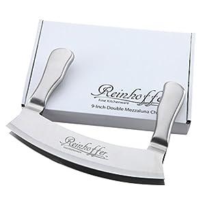 Reinhoffer Fine Kitchenware 9-Inch Stainless Steel Double Blade Crescent Chopper Blade Mezzaluna Knife and Mincer