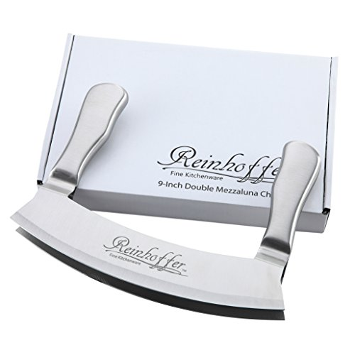 Reinhoffer Fine Kitchenware 9-Inch Stainless Steel Double Blade Crescent Chopper Blade Mezzaluna Knife and Mincer Double Chopper
